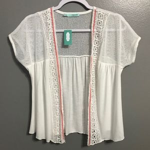NWT Maurices Short Sleeved White Shrug Small
